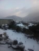 雪景色の湯布院